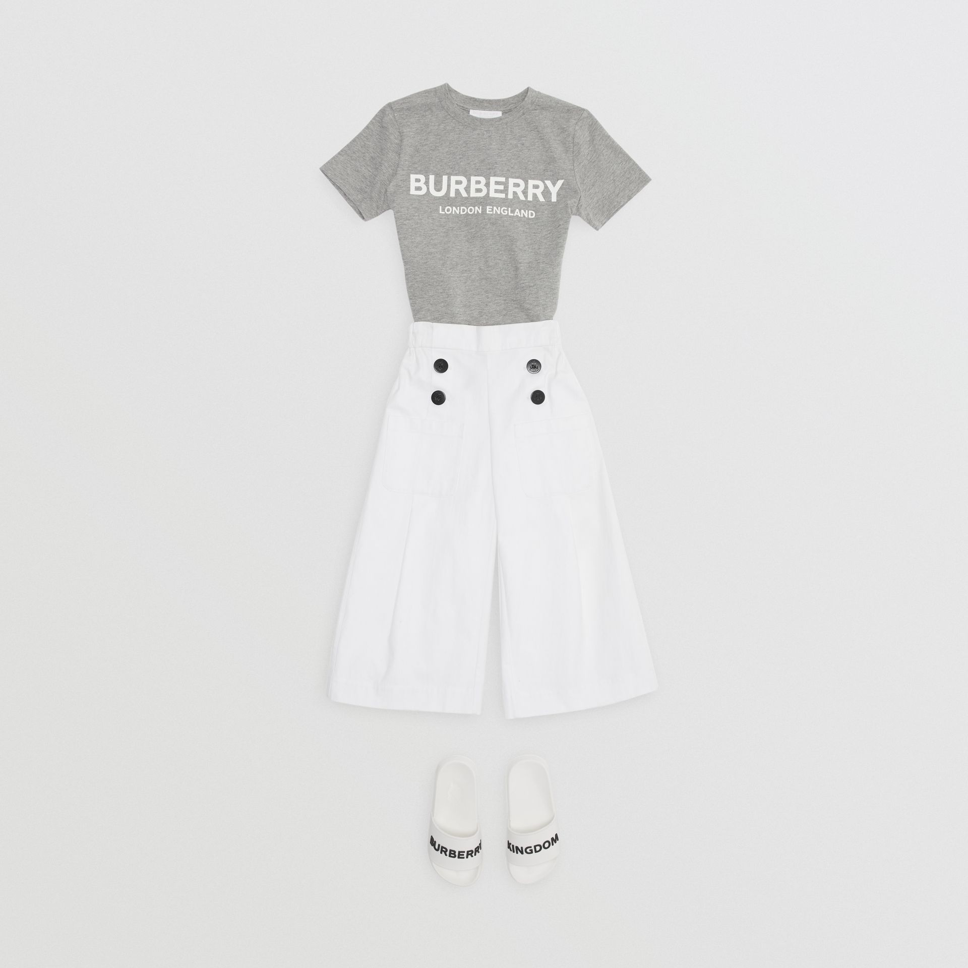 Logo Print Cotton T-shirt in Grey Melange | Burberry - gallery image 3