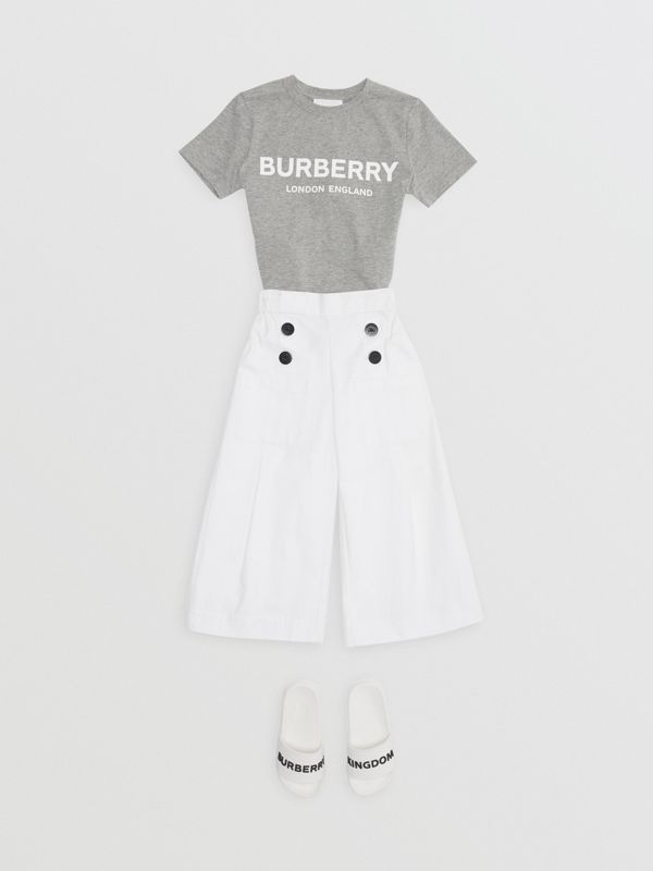 Logo Print Cotton T-shirt in Grey Melange | Burberry Australia - cell image 3