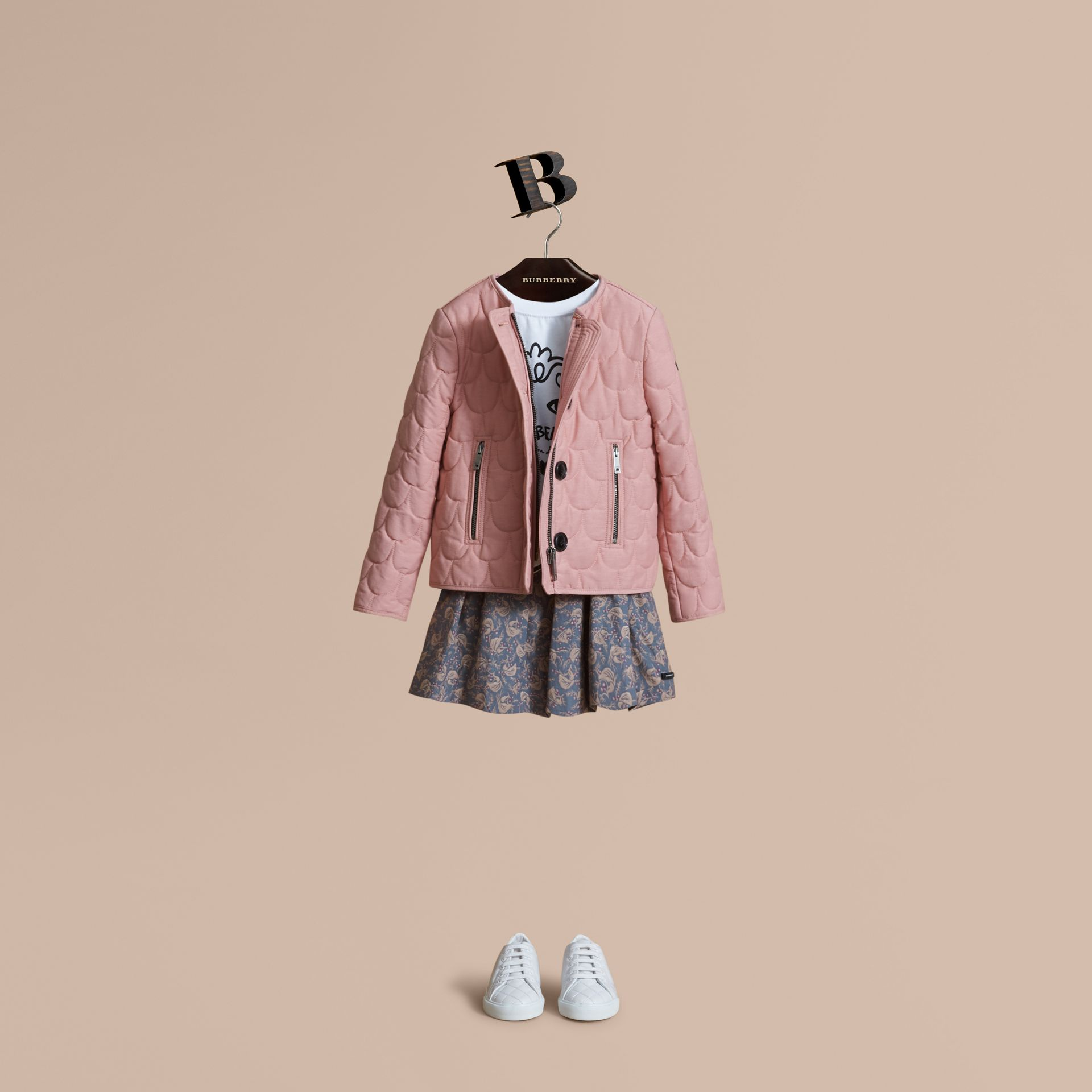 Collarless Scallop-quilted Jacket in Pale Rose | Burberry Australia - gallery image 1