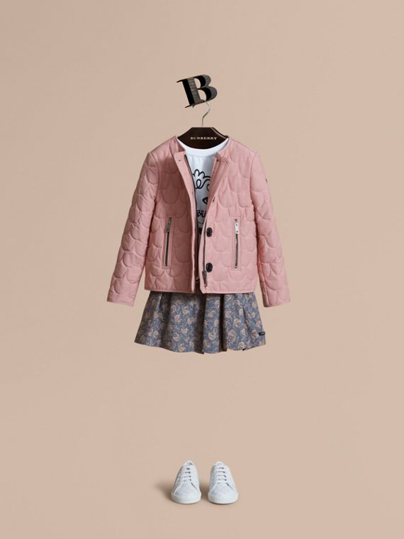 Collarless Scallop-quilted Jacket in Pale Rose