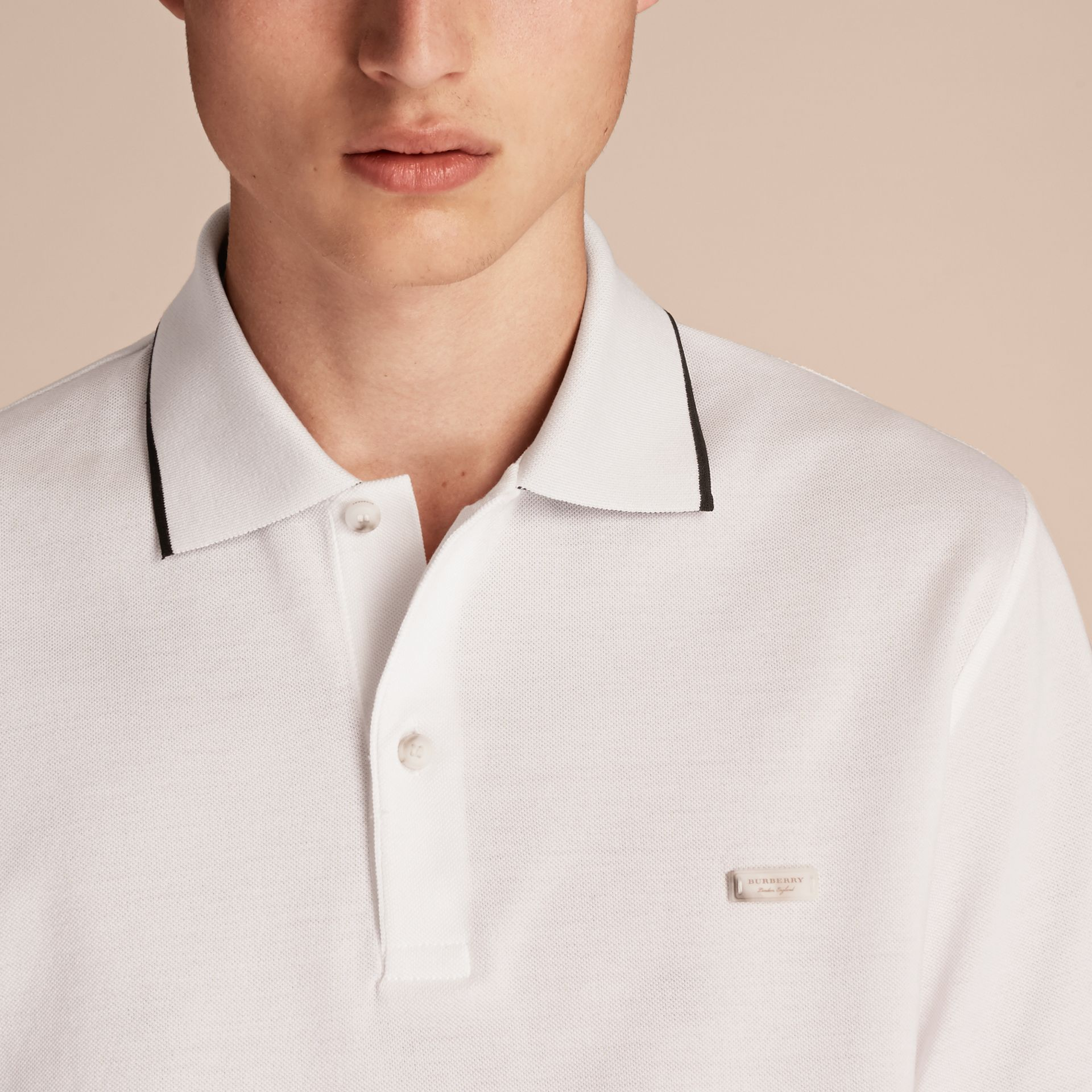 Tipped Collar Cotton Piqué Polo Shirt White - gallery image 5
