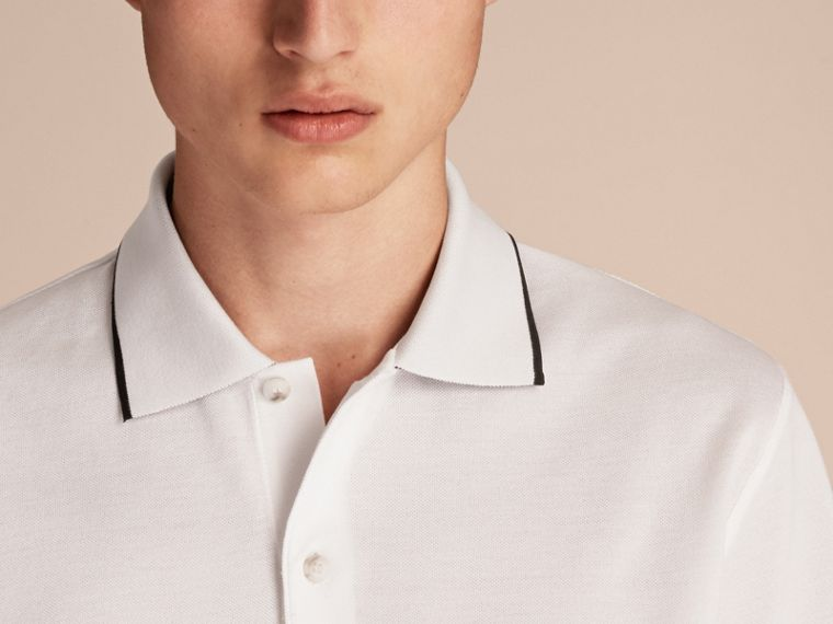Tipped Collar Cotton Piqué Polo Shirt in White - Men | Burberry - cell image 4