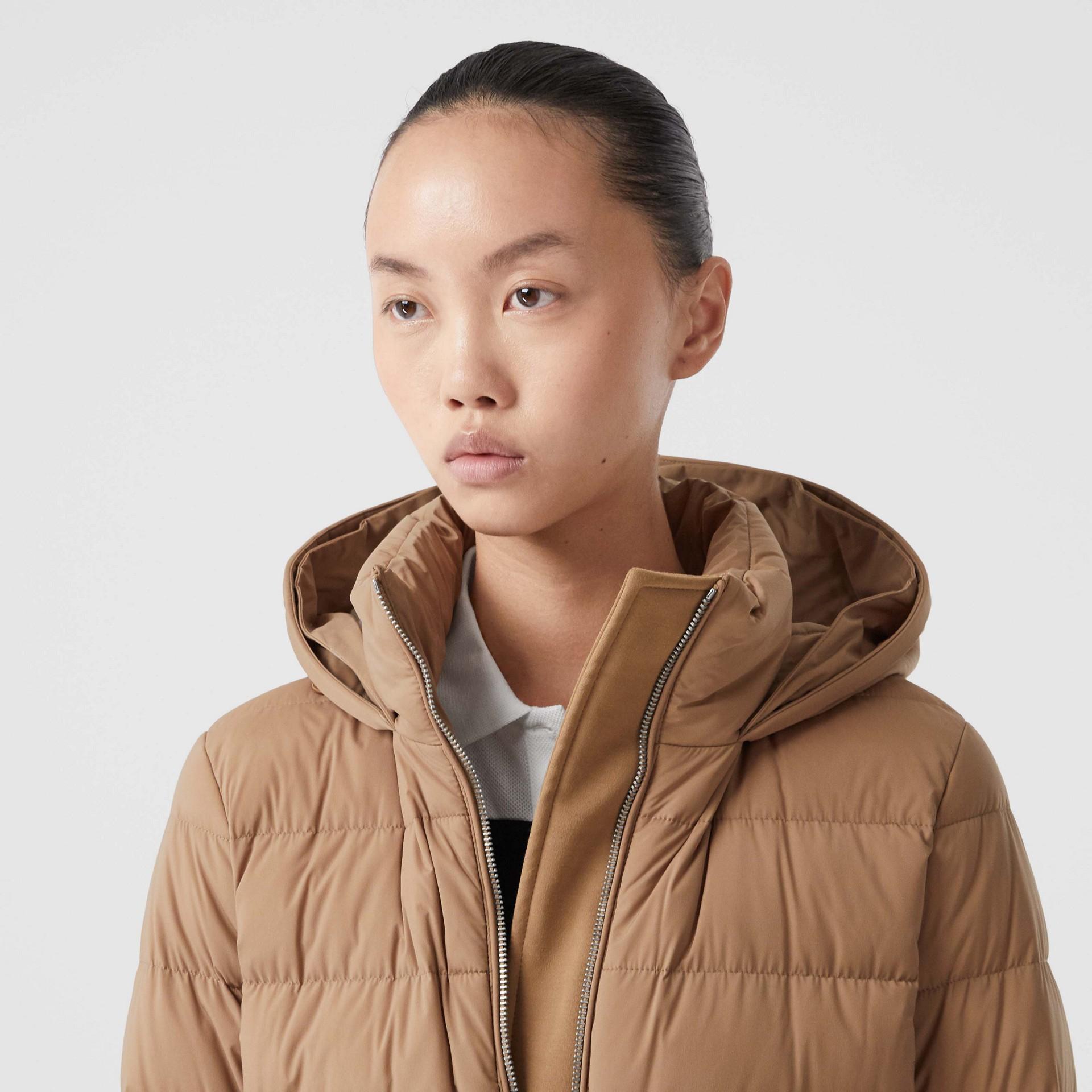 Faux Fur Trim Detachable Hood Puffer Jacket in Soft Camel - Women | Burberry United Kingdom - gallery image 1