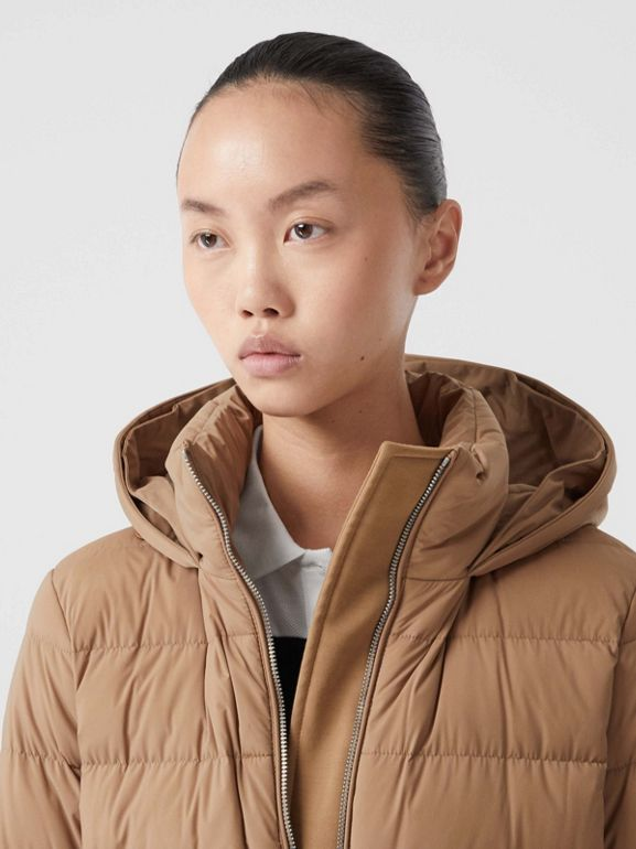 Faux Fur Trim Detachable Hood Puffer Jacket in Soft Camel - Women | Burberry United Kingdom - cell image 1
