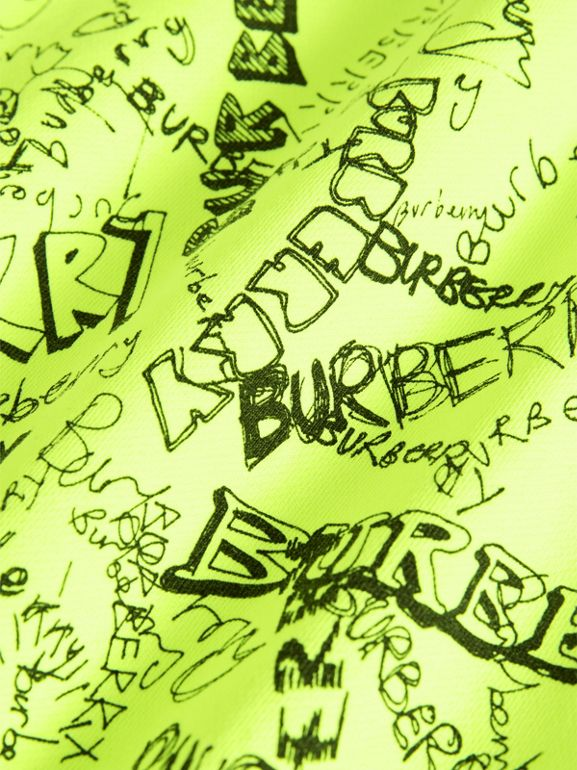 Doodle Print Cotton Jersey Sweater Dress in Bright Lemon | Burberry - cell image 1