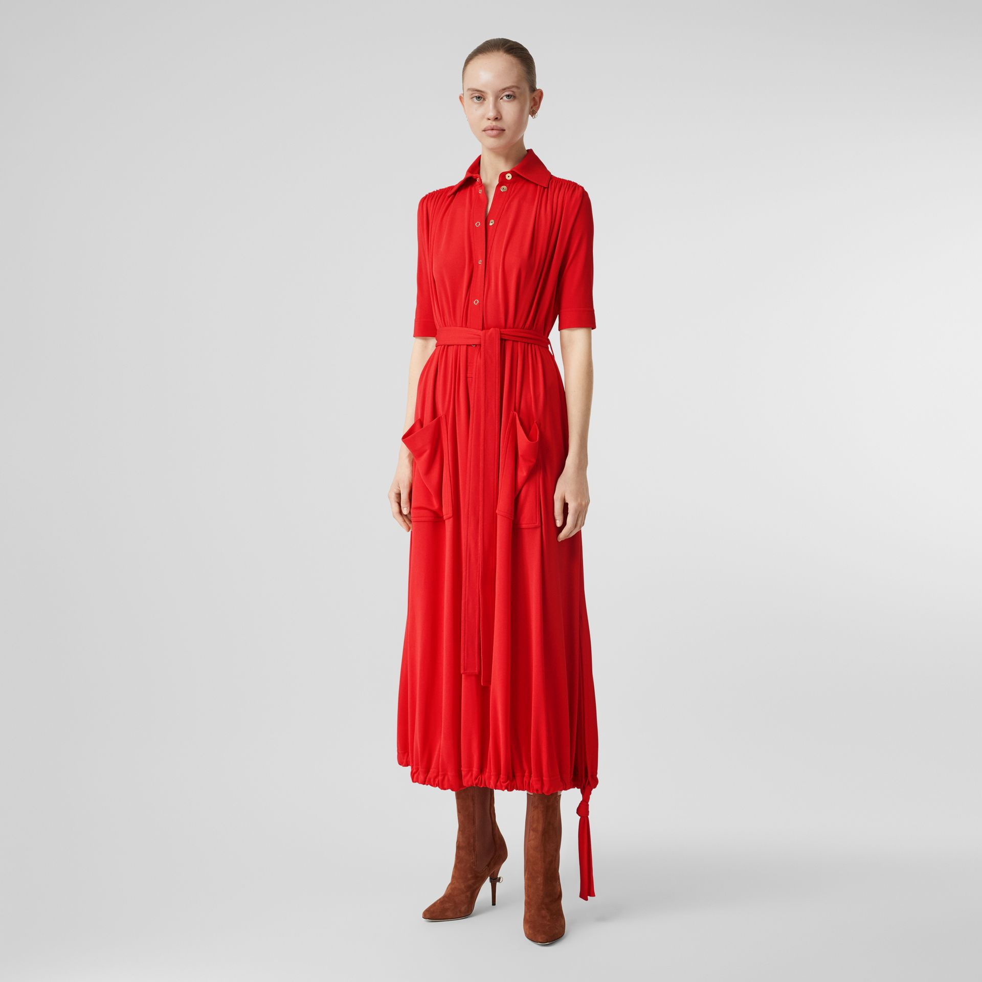 Short-sleeve Gathered Jersey Dress in Bright Red - Women | Burberry - gallery image 0
