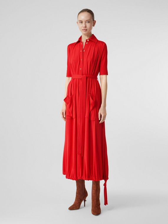 Short-sleeve Gathered Jersey Dress in Bright Red