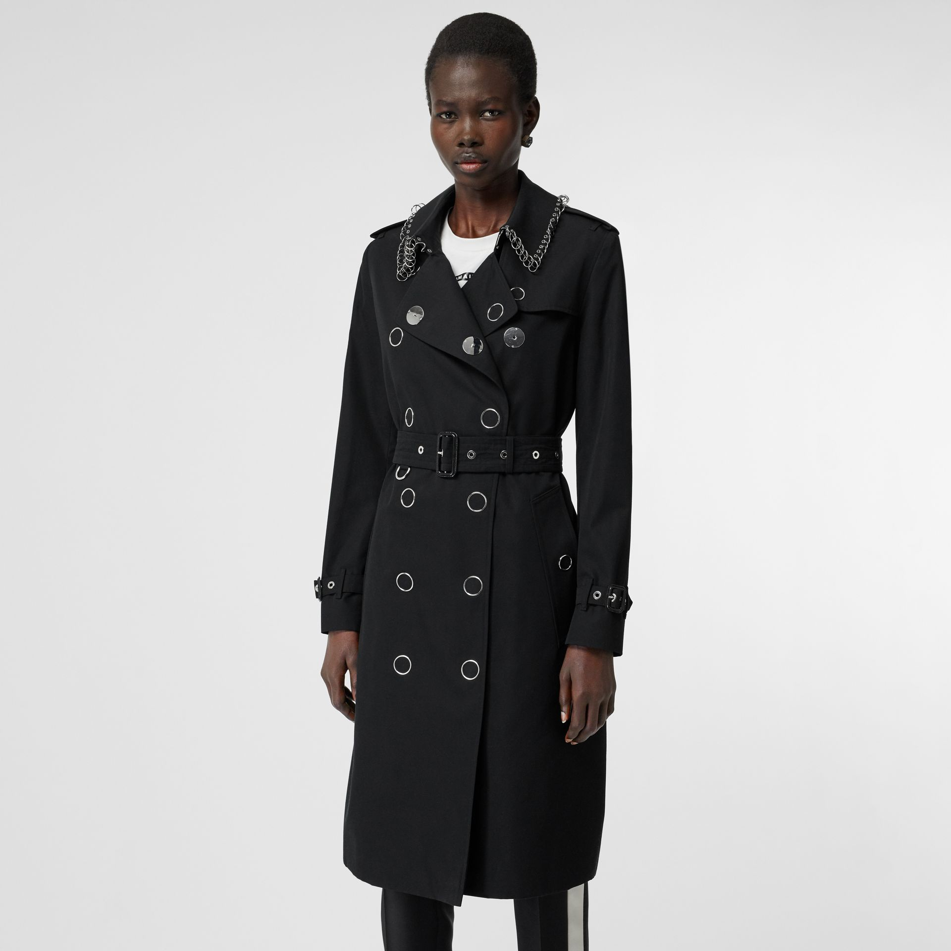 Ring-pierced Cotton Gabardine Trench Coat in Black - Women | Burberry - gallery image 5
