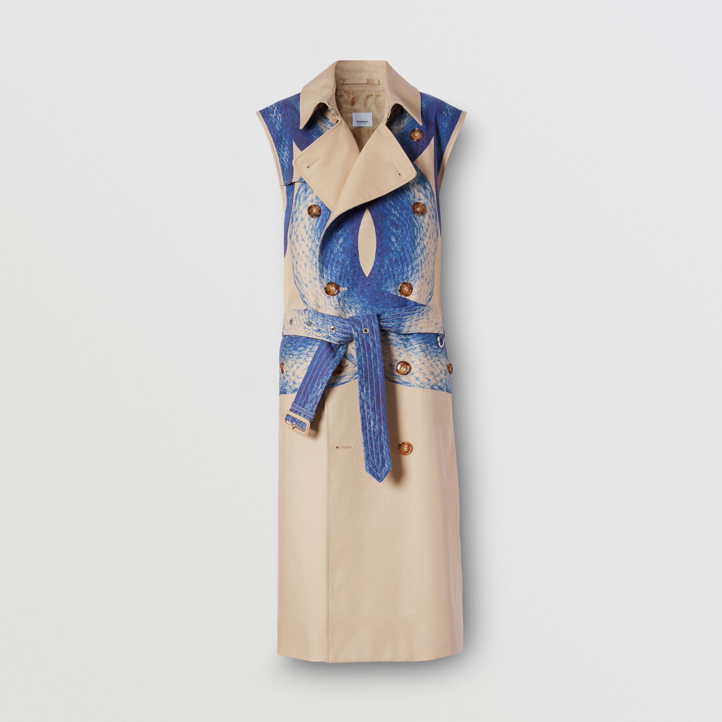 Mermaid Tail Print Cotton Sleeveless Trench Coat in Ink Navy - Women | Burberry United Kingdom - 4