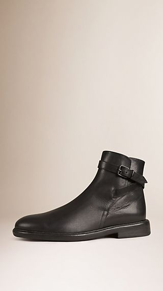 Buckle Detail Calf Leather Boots