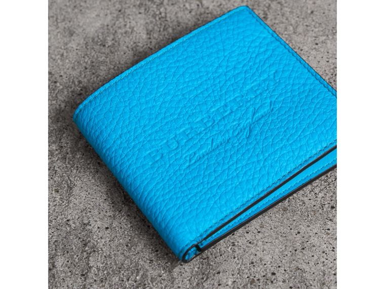 Embossed Leather International Bifold Wallet in Neon Blue - Men | Burberry United Kingdom - cell image 1