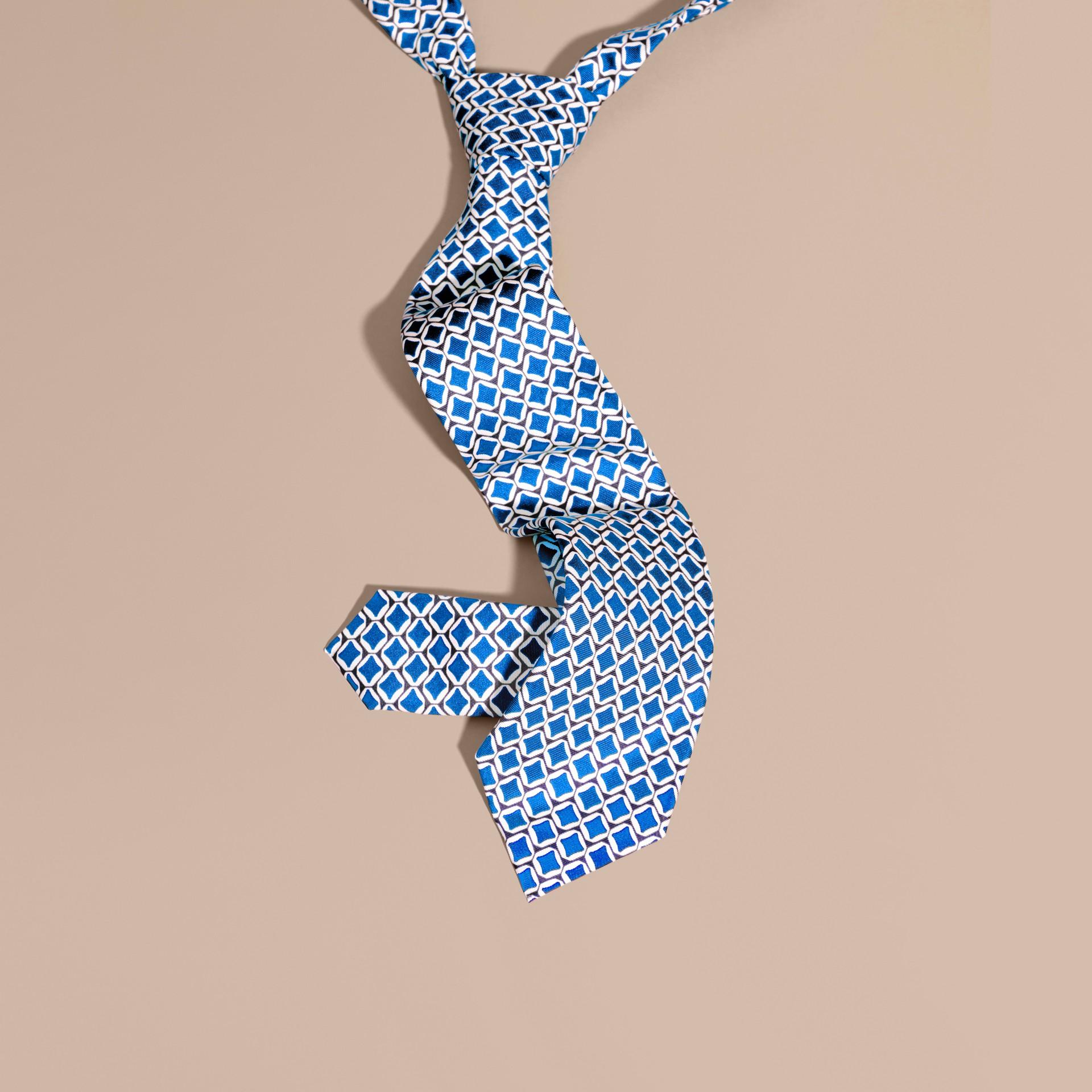 Bright hydrangea blue Modern Cut Geometric Print Silk Tie - gallery image 1