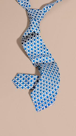 Cravate moderne en soie à imprimé géométrique