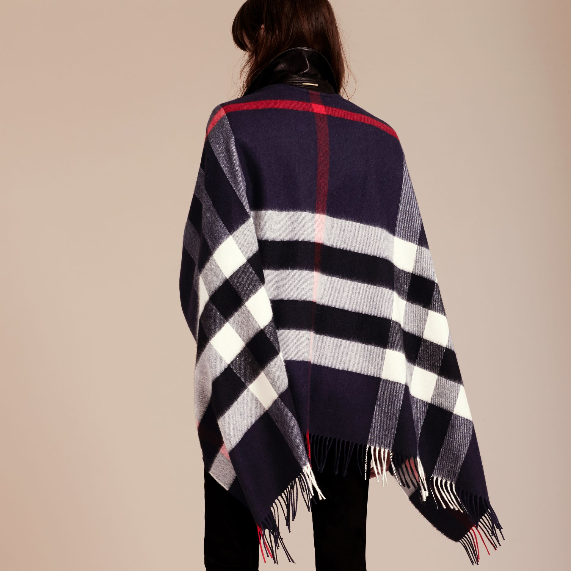 Check Cashmere and Wool Poncho in Navy - Women | Burberry Canada - gallery image 3