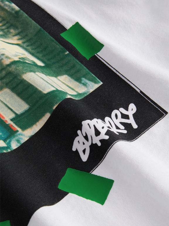 London Polaroid Print Cotton T-shirt in White | Burberry - cell image 1