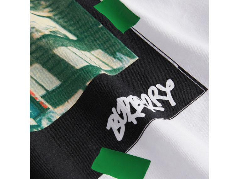 London Polaroid Print Cotton T-shirt in White - Boy | Burberry - cell image 1