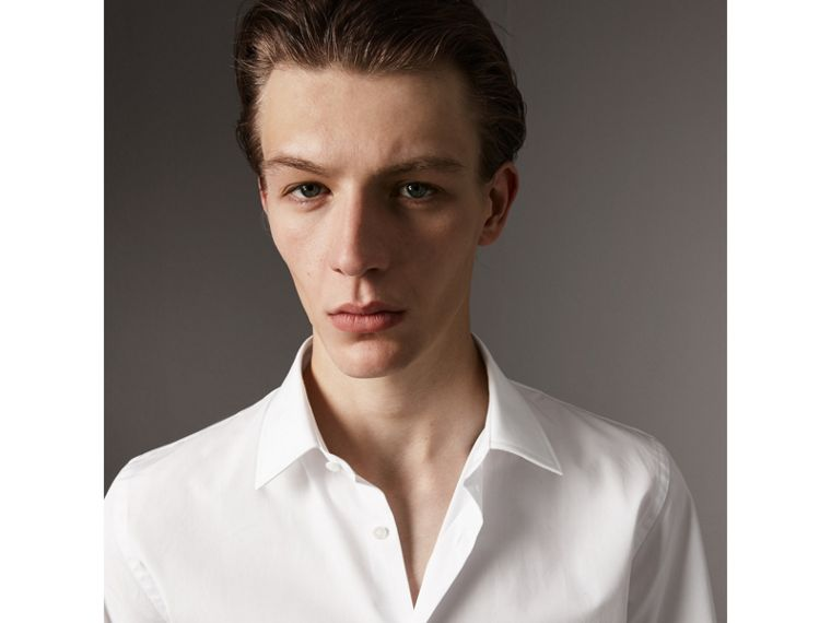 Short Sleeve Cotton Poplin Shirt in White - Men | Burberry - cell image 1