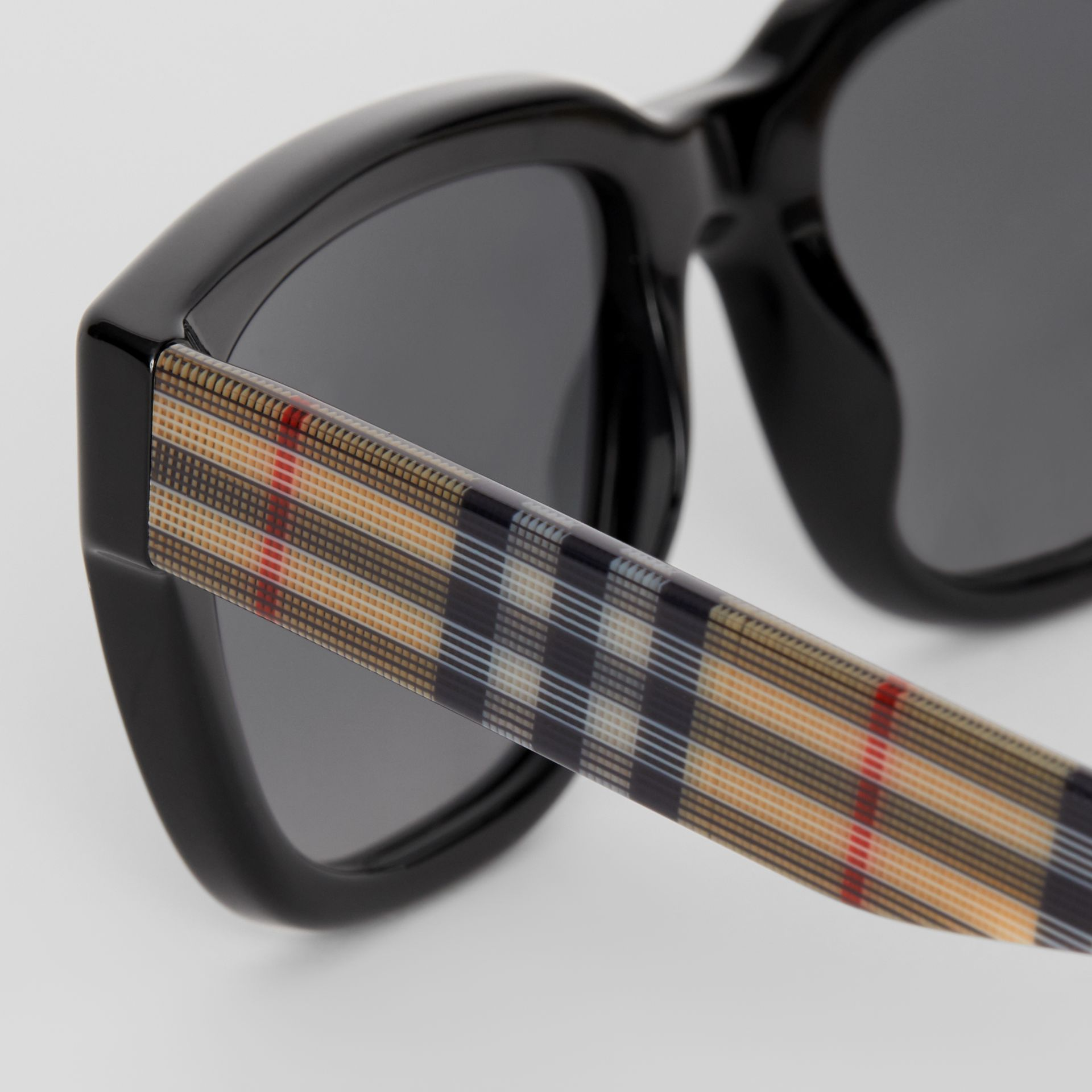 Vintage Check Detail Square Frame Sunglasses in Antique Yellow - Women | Burberry - gallery image 1