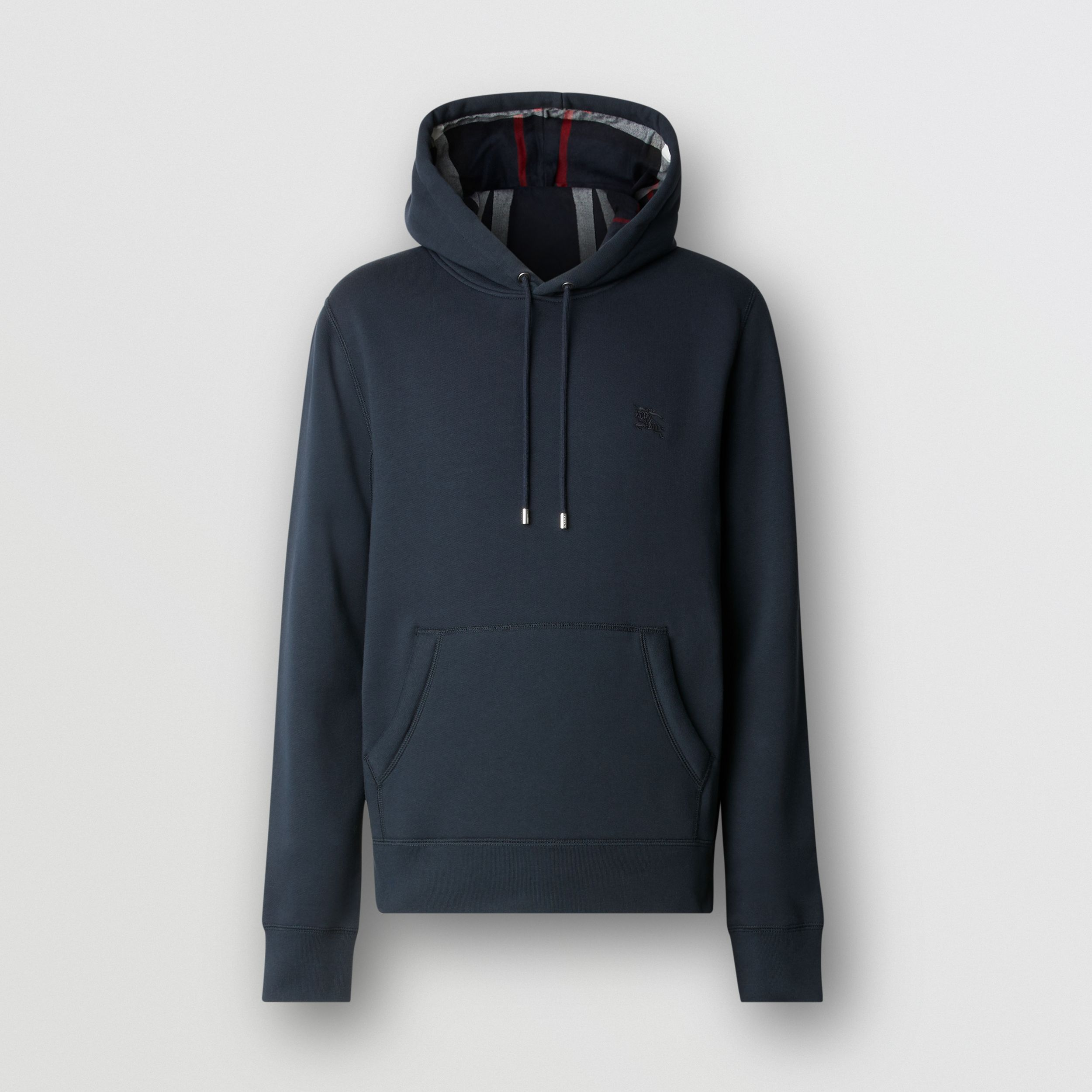 Embroidered EKD Cotton Blend Hoodie in Navy - Men | Burberry - 1