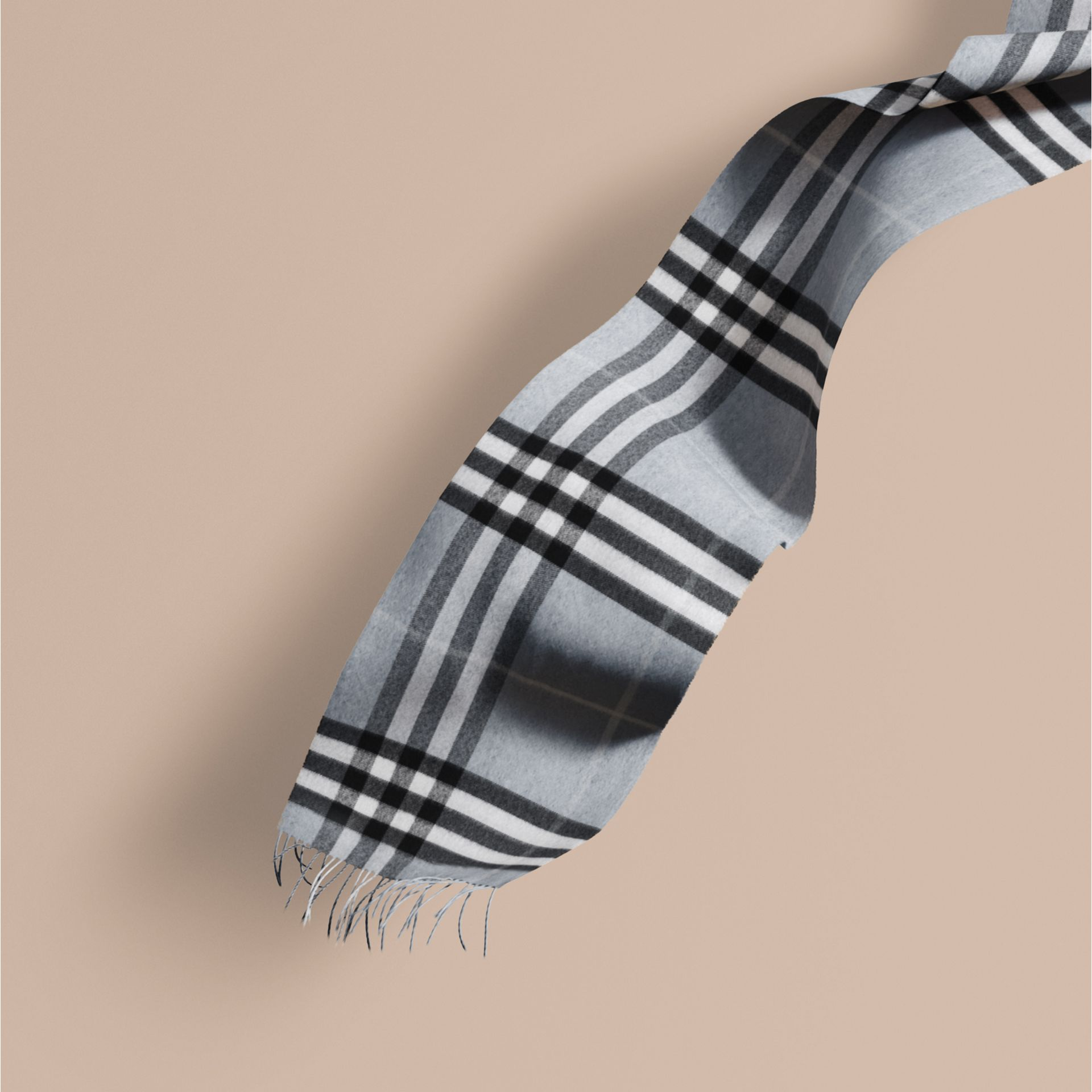 The Classic Cashmere Scarf in Check Dusty Blue - gallery image 1