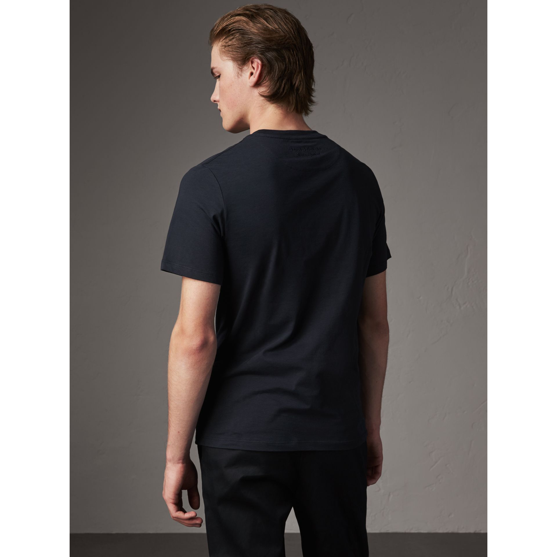 Sketch Appliqué Cotton T-shirt in Navy - Men | Burberry United Kingdom - gallery image 3