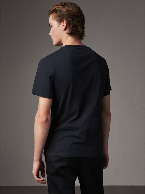 Sketch Appliqué Cotton T-shirt in Navy - Men | Burberry United Kingdom - cell image 2
