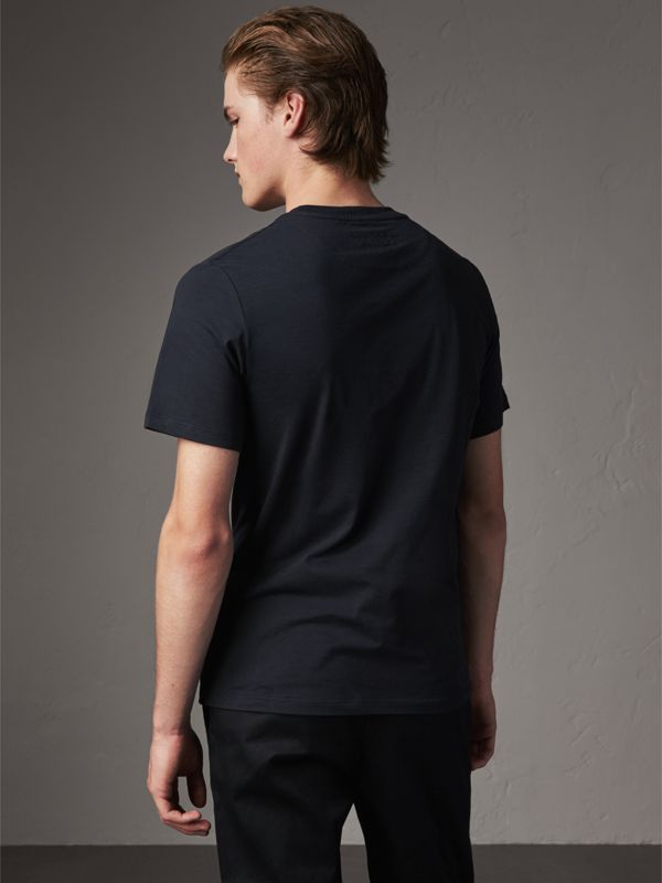 Sketch Appliqué Cotton T-shirt in Navy - Men | Burberry - cell image 2