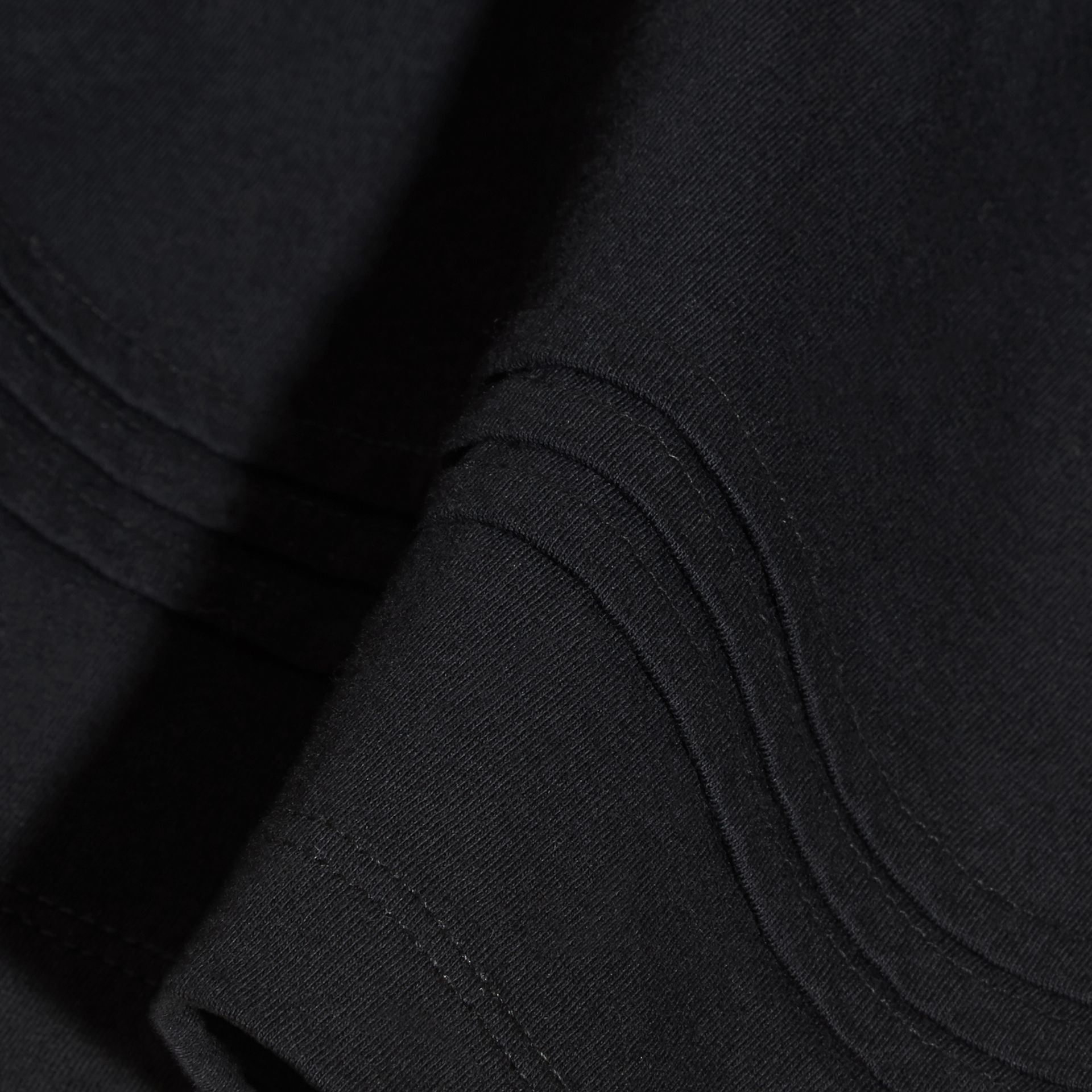Pleat Detail Check Cotton T-Shirt in Black - gallery image 2