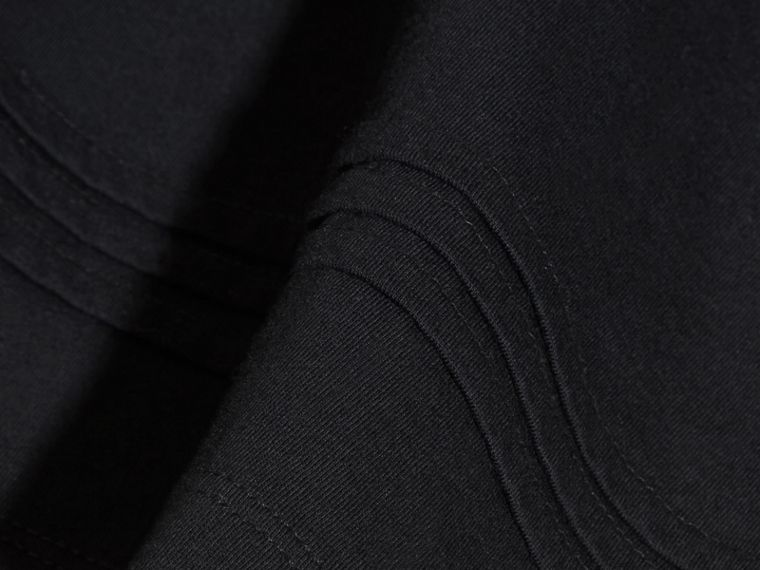 Pleat Detail Check Cotton T-Shirt in Black - cell image 1