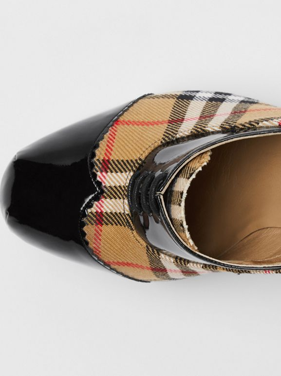 Vintage Check and Patent Lace-up Platforms in Black - Men | Burberry - cell image 1
