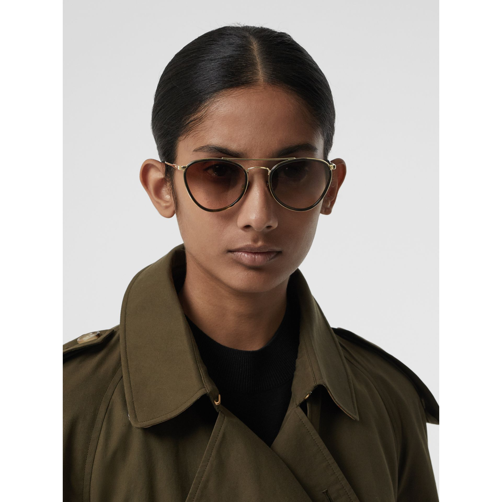 Pilot Sunglasses in Tortoise Shell - Women | Burberry - gallery image 2