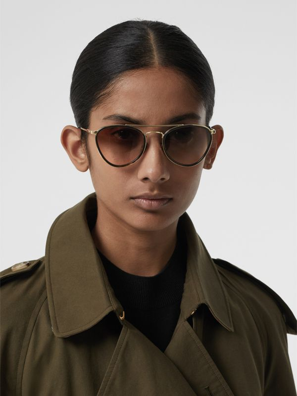 Pilot Sunglasses in Tortoise Shell - Women | Burberry - cell image 2