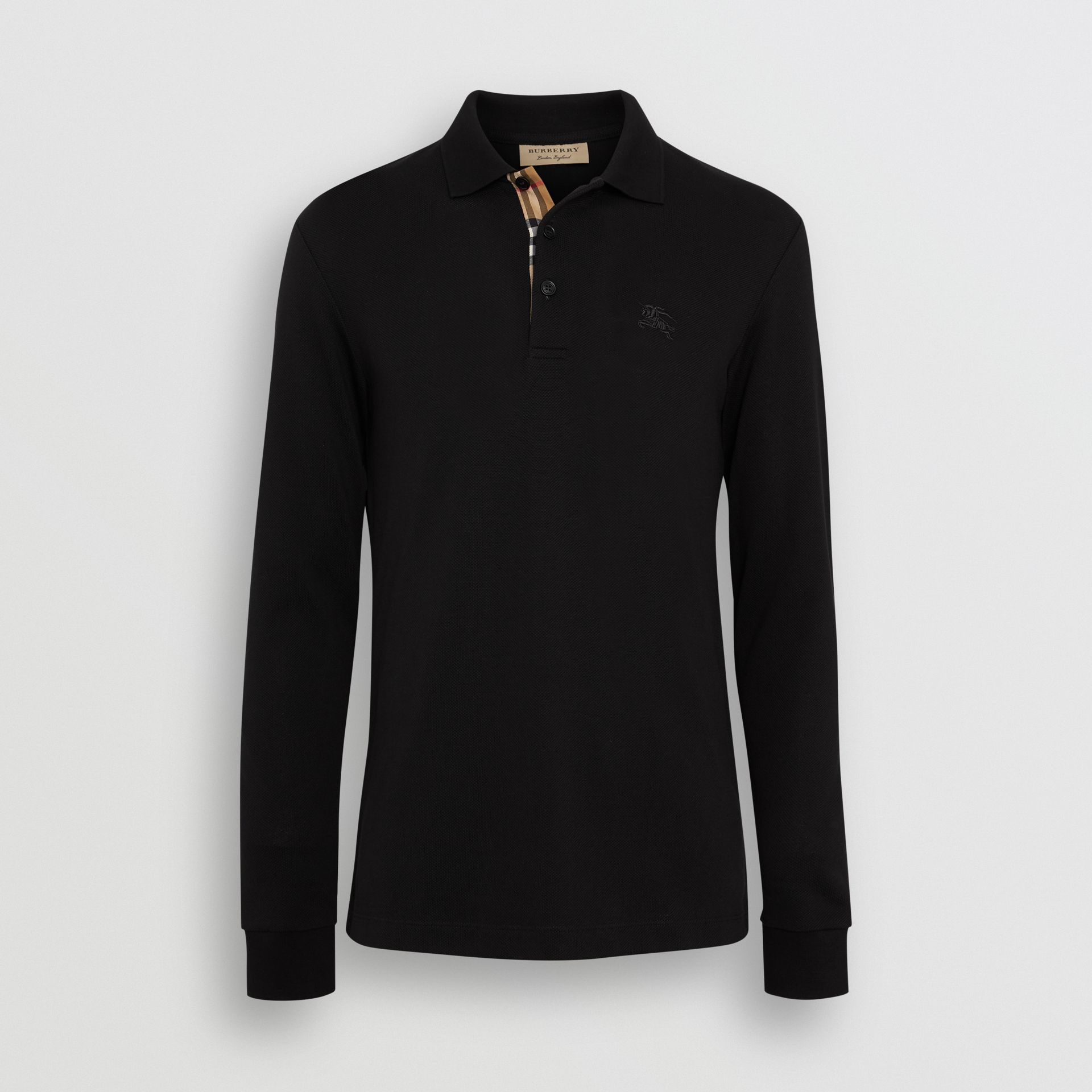 Long-sleeve Cotton Piqué Polo Shirt in Black - Men | Burberry Australia - gallery image 3