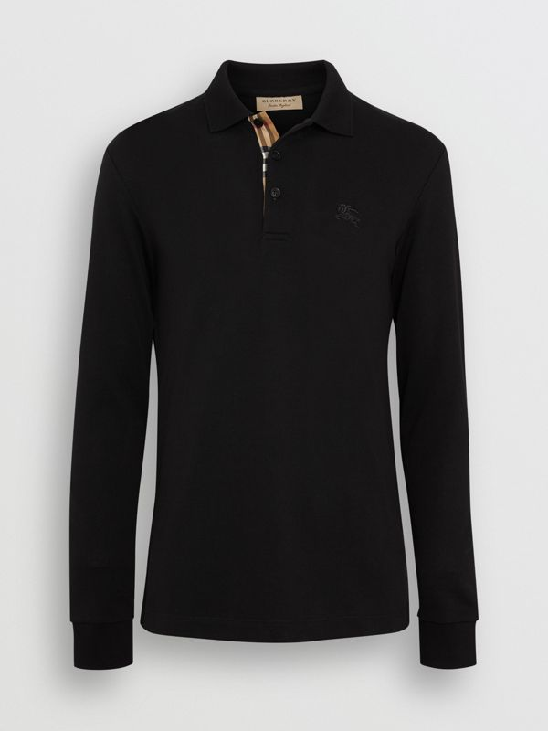 Long-sleeve Cotton Piqué Polo Shirt in Black - Men | Burberry Australia - cell image 3