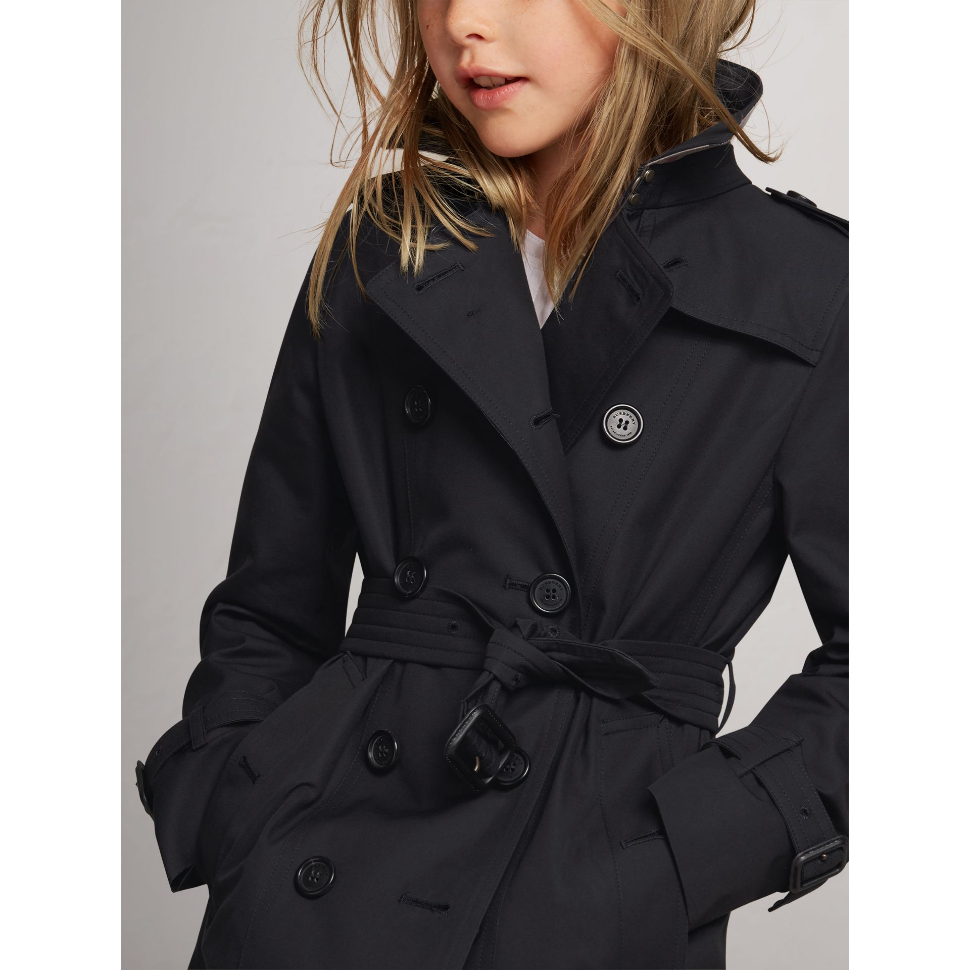 The Sandringham Trench Coat in Navy - Girl | Burberry Canada - gallery image 1