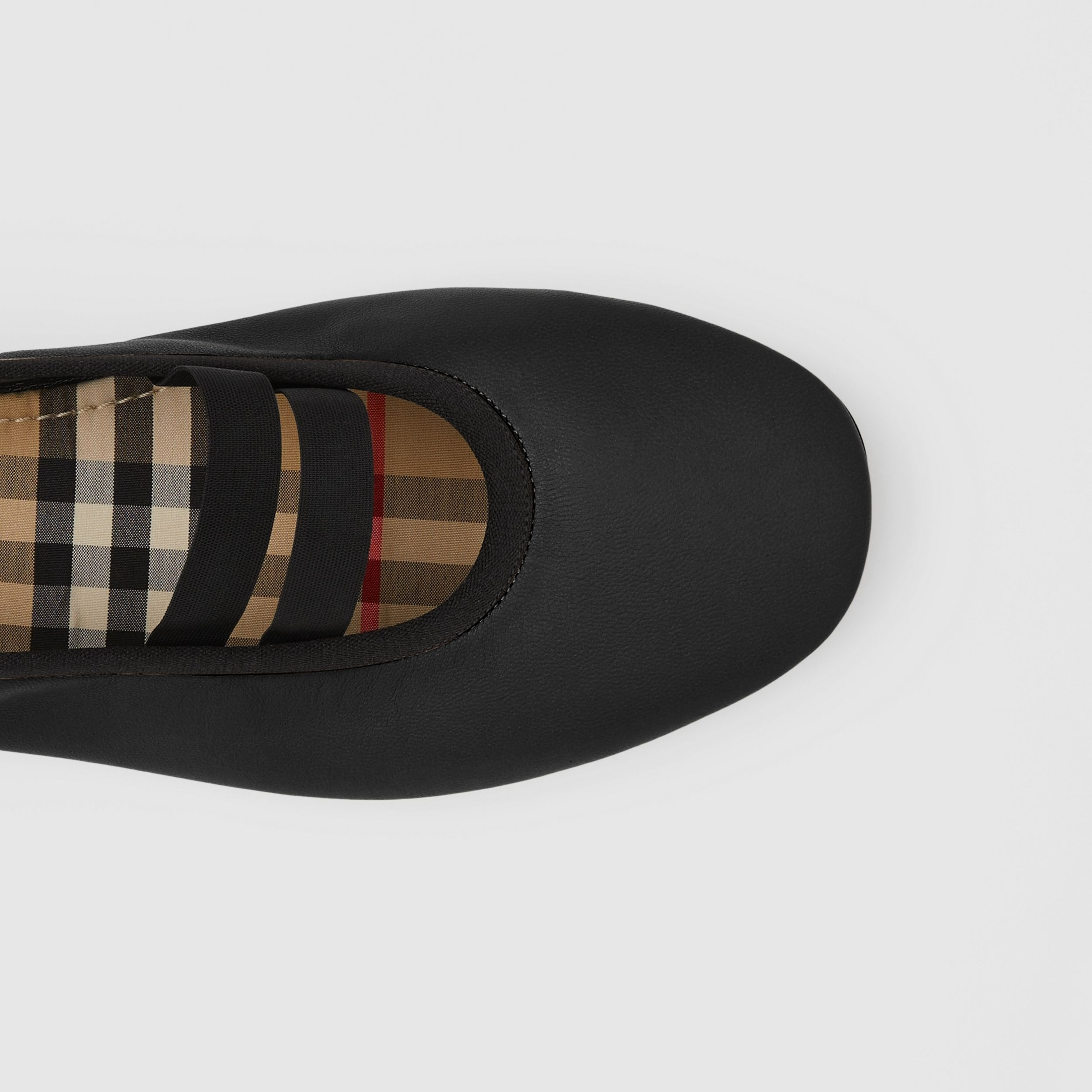 Logo Detail Lambskin Ballerinas in Black - Women | Burberry United Kingdom - 2