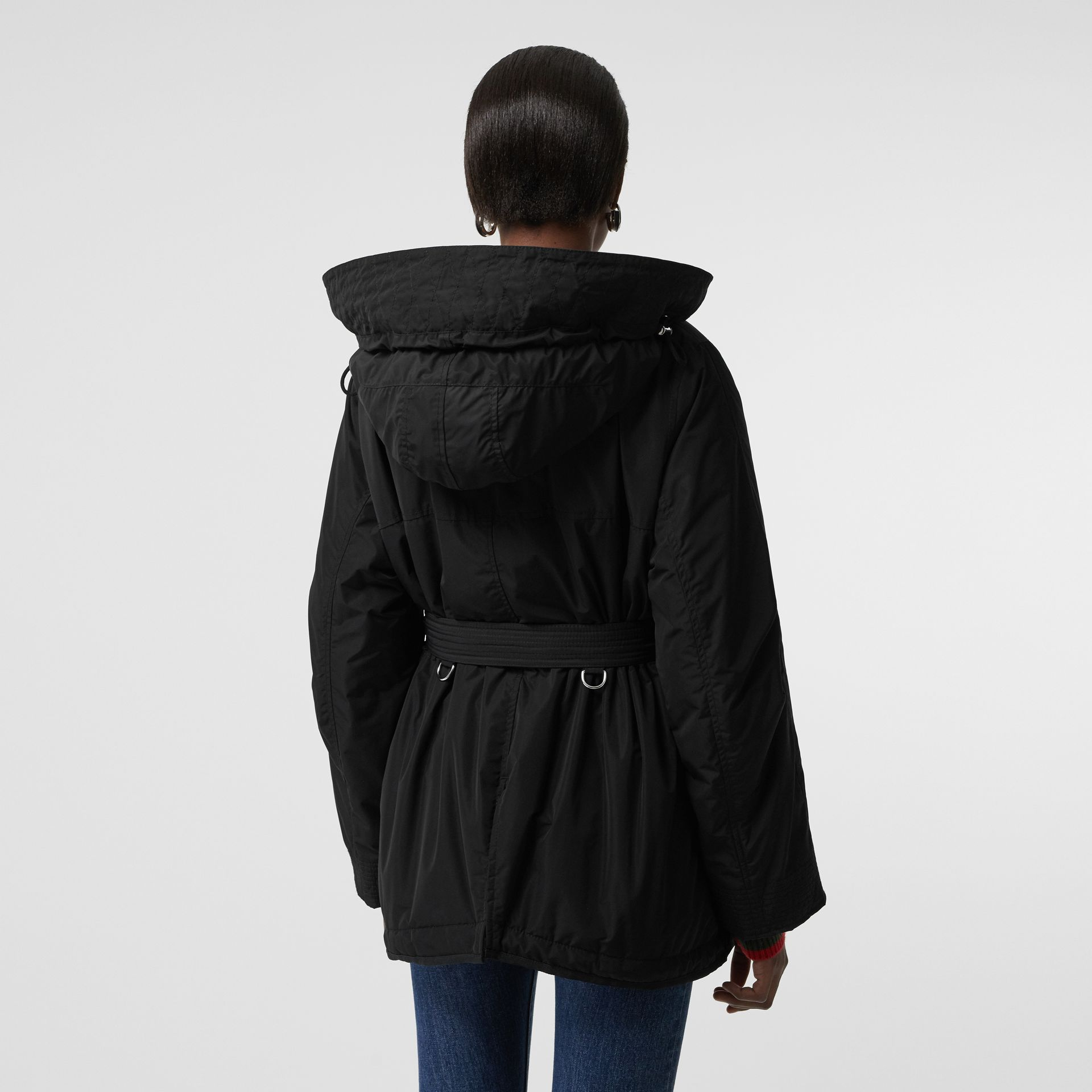 Shape-memory Taffeta Hooded Parka in Black - Women | Burberry Australia - gallery image 1