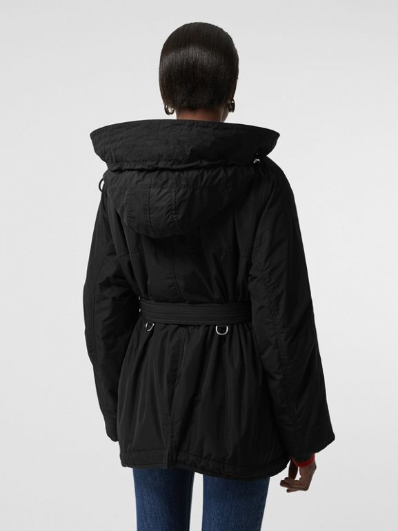 Shape-memory Taffeta Hooded Parka in Black - Women | Burberry Australia - cell image 1