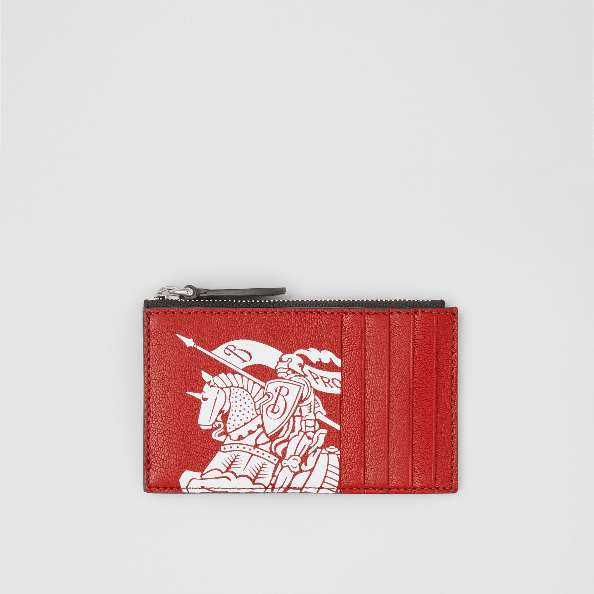 Logo Print Leather Zip Card Case in Rust Red/black - Men | Burberry - gallery image 0