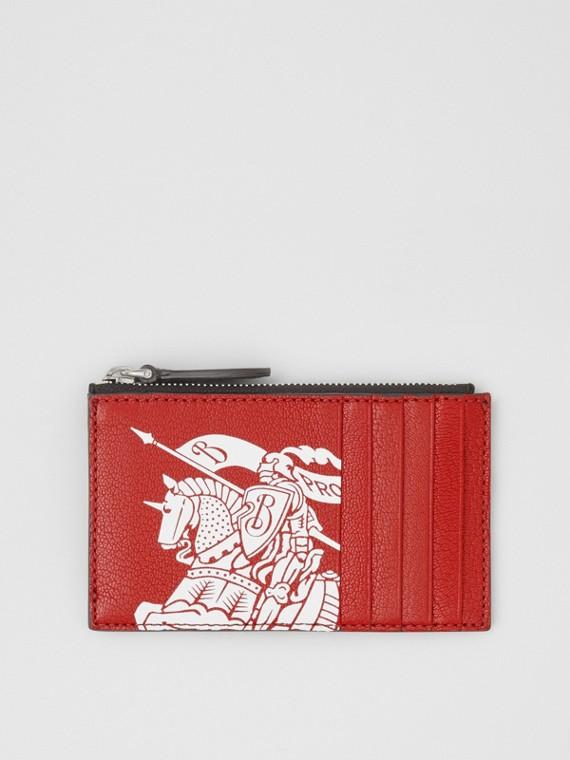 徽標印花皮革拉鍊卡片夾 (鐵鏽紅色/黑色)