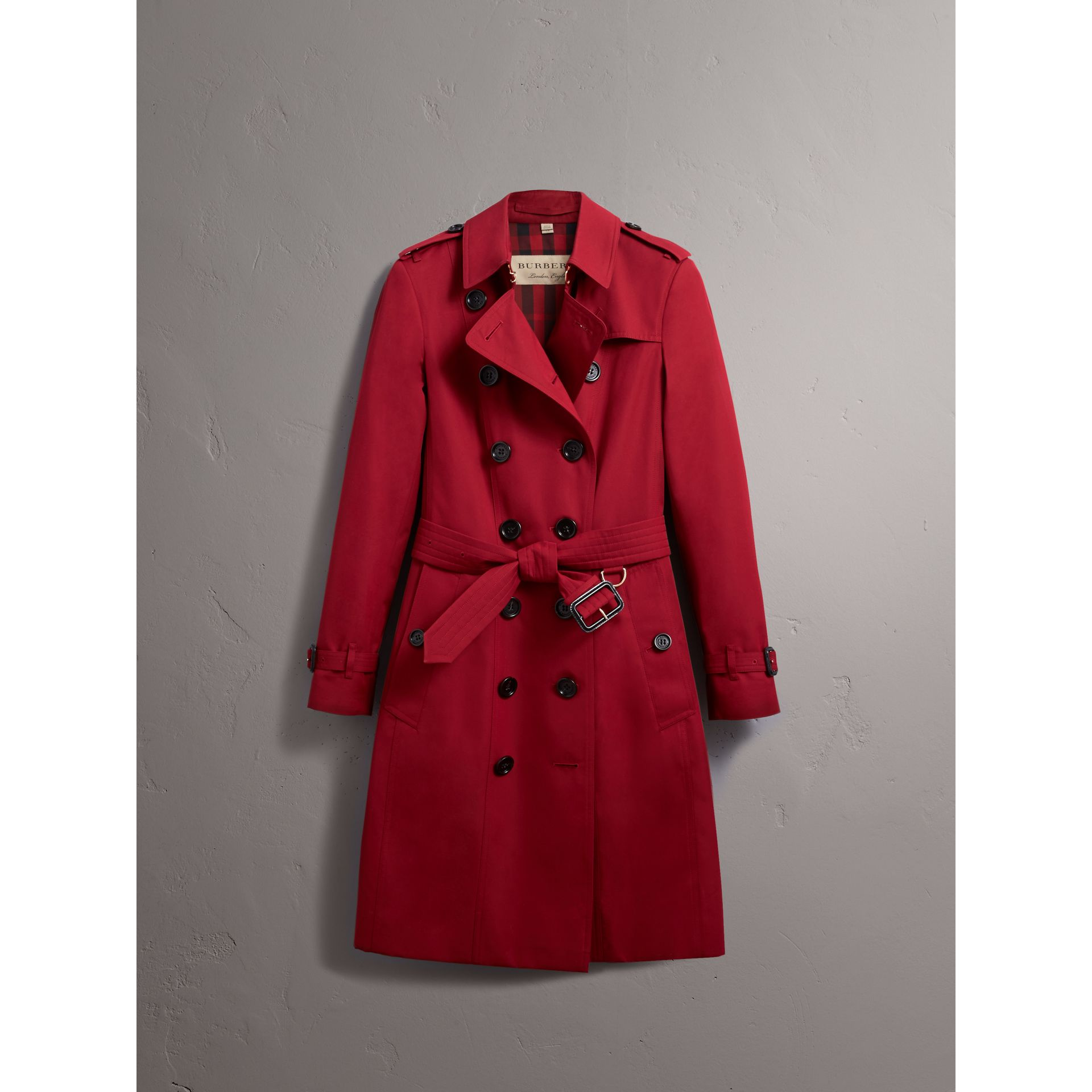 Leather Trim Cotton Gabardine Trench Coat in Parade Red - Women | Burberry - gallery image 4