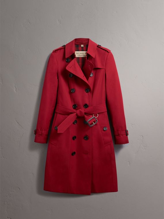 Leather Trim Cotton Gabardine Trench Coat in Parade Red - Women | Burberry - cell image 3