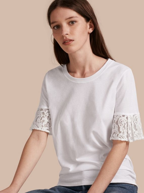 Lace Trim Cotton T-shirt in White