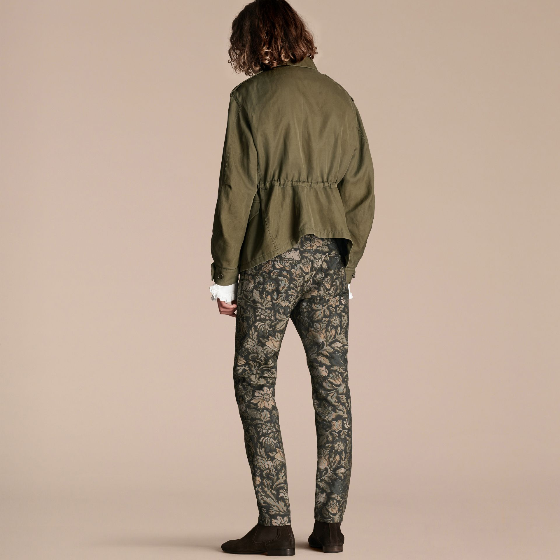 Military green Tumbled Ramie Cotton Twill Field Jacket - gallery image 3