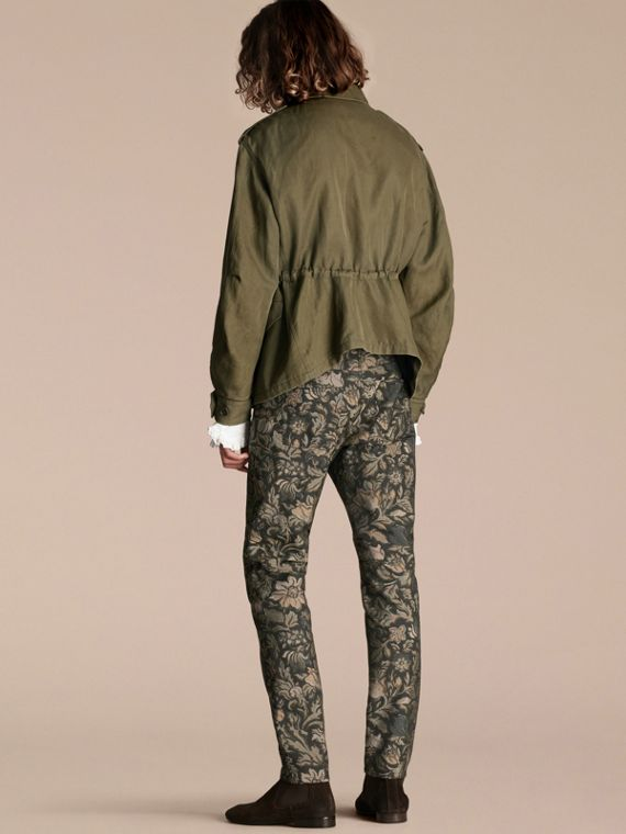 Military green Tumbled Ramie Cotton Twill Field Jacket - cell image 2