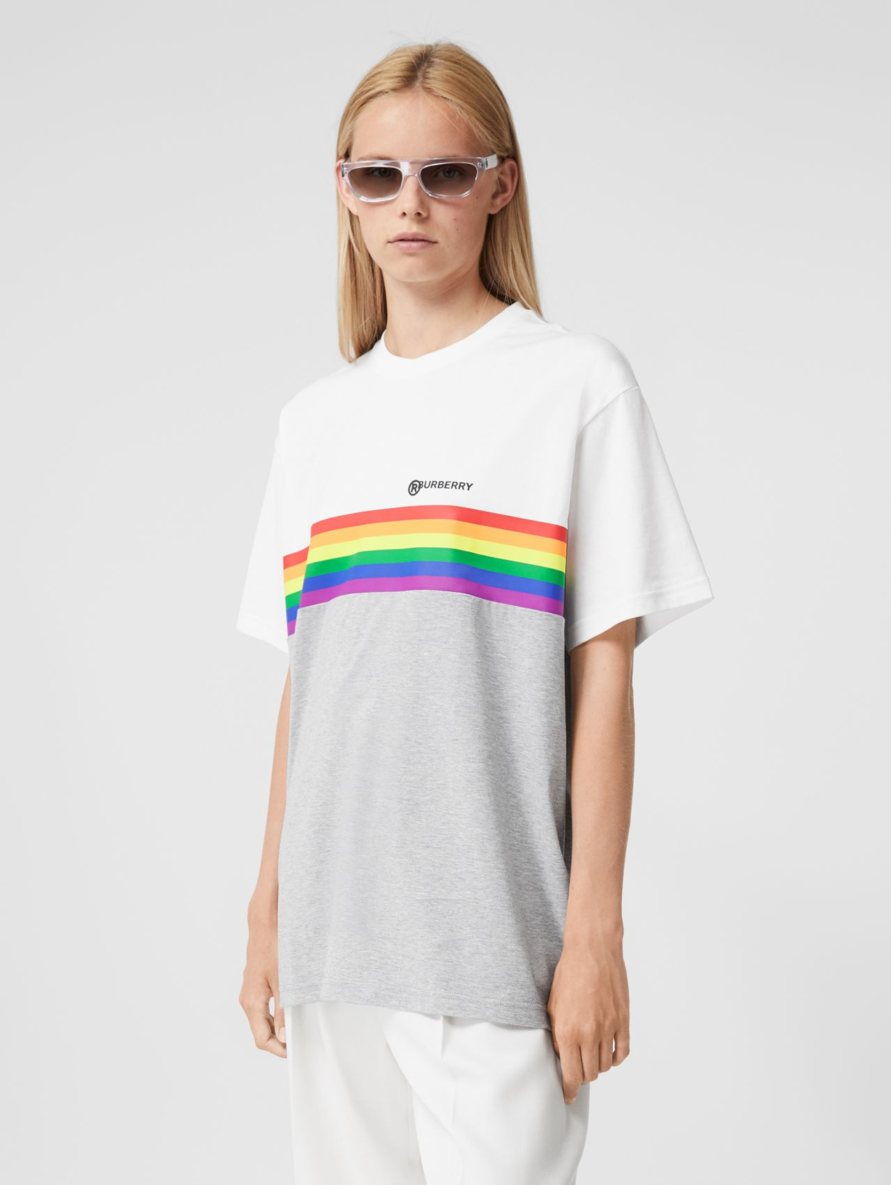 Rainbow Stripe Print Cotton T-shirt – Unisex (White)