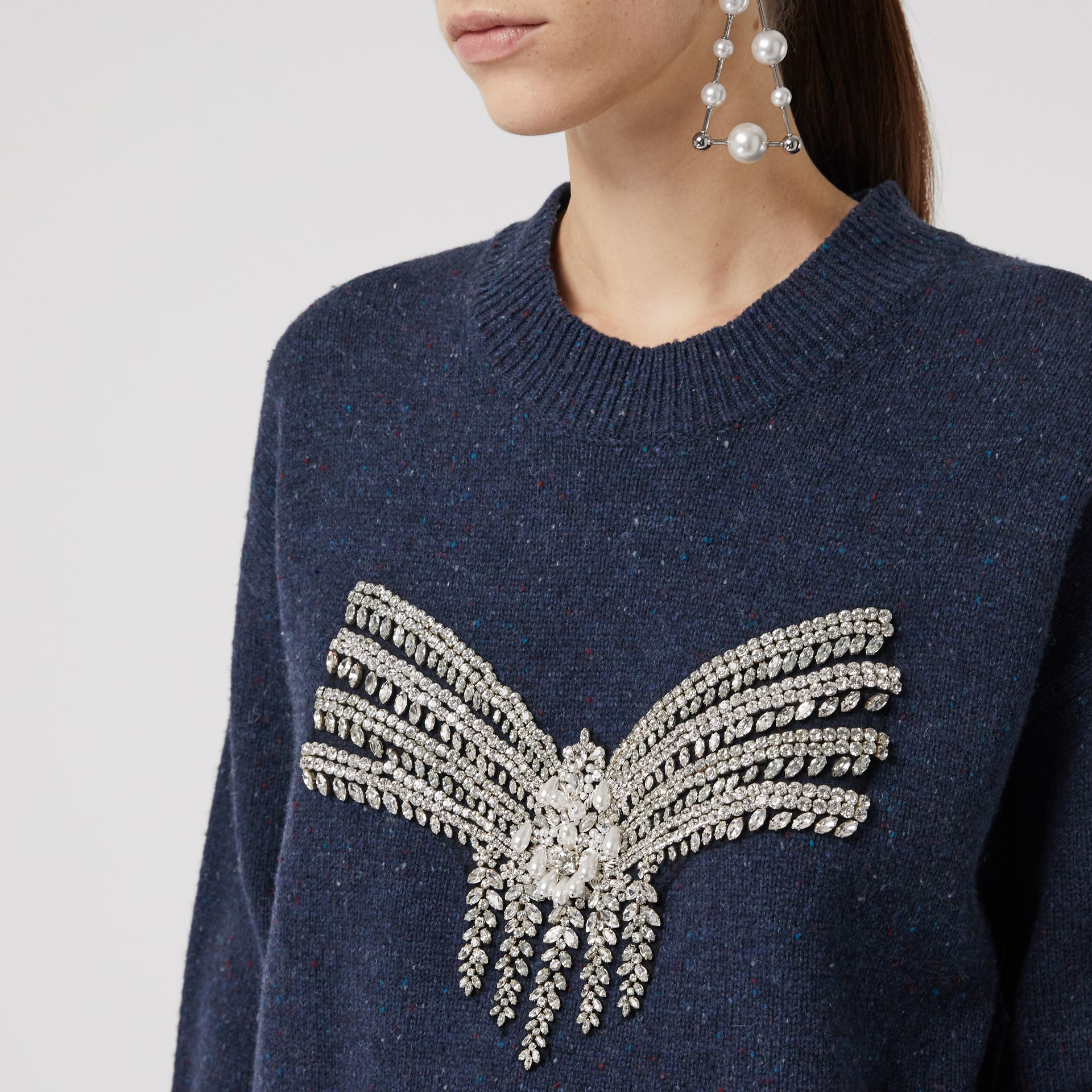 Crystal-embellished Merino Wool Sweater in Sapphire Blue - Women | Burberry - gallery image 1