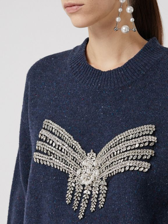 Crystal-embellished Merino Wool Sweater in Sapphire Blue - Women | Burberry - cell image 1