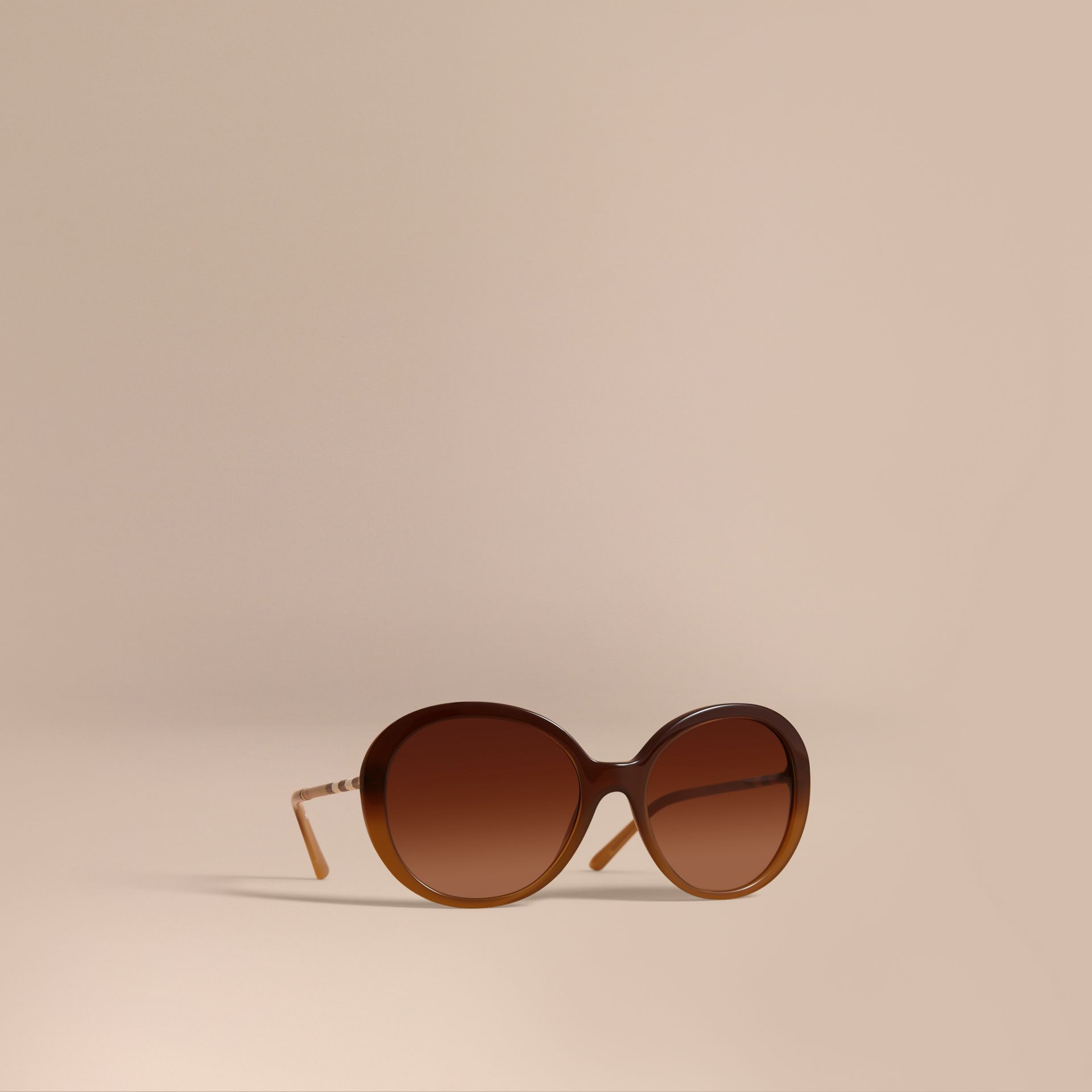 Check Detail Round Frame Sunglasses in Amber - Women | Burberry Hong Kong - gallery image 1
