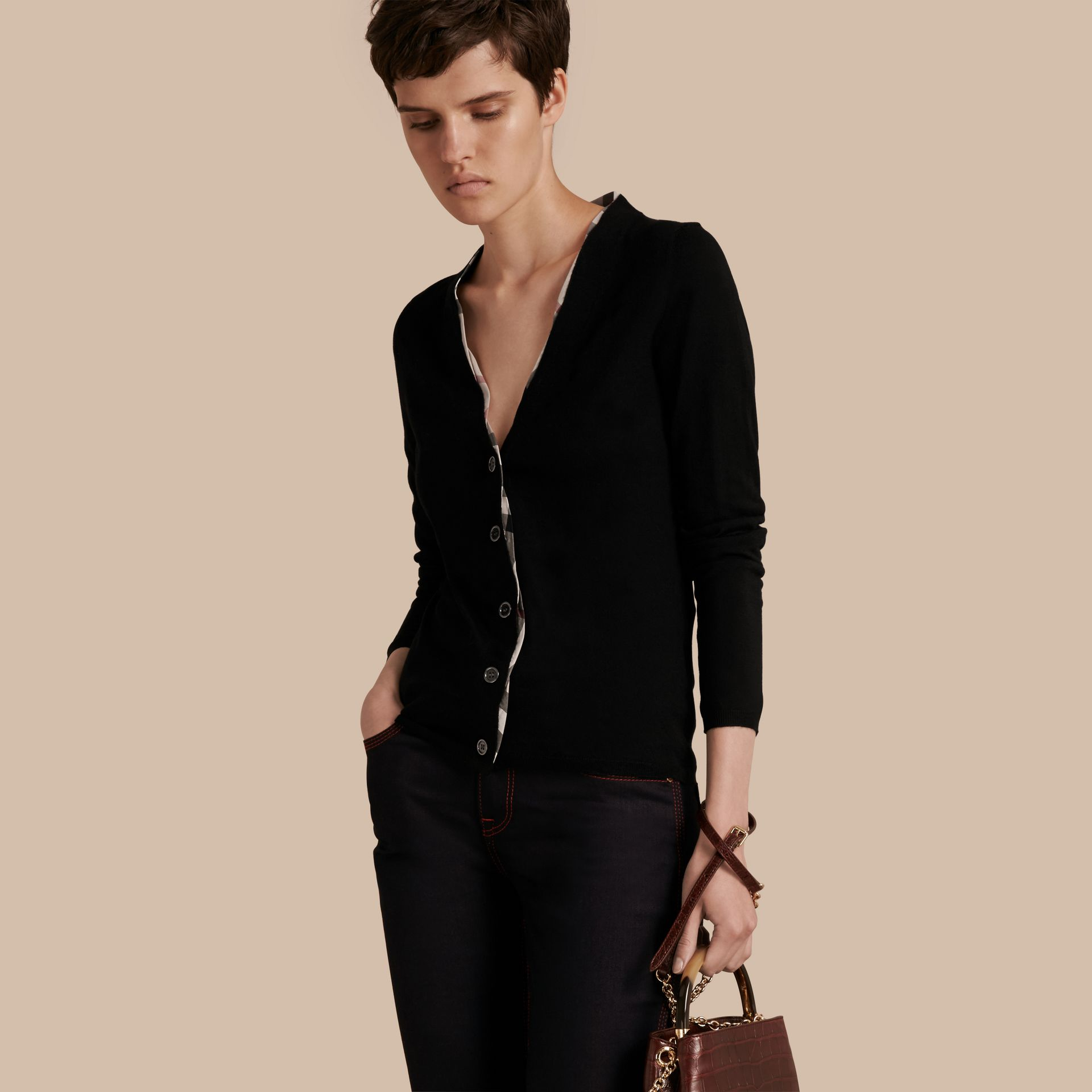 Check Placket Wool Cardigan in Black - Women | Burberry - gallery image 1
